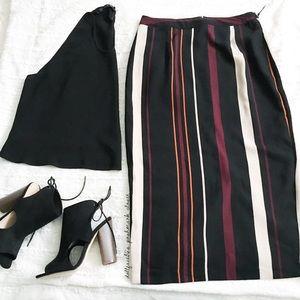 NEW Retro Stripe HighWaist Midi Skirt